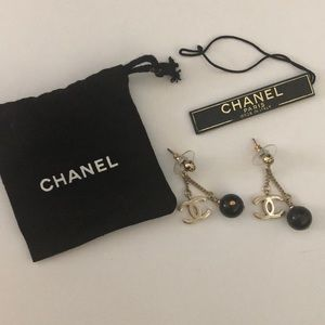 Authentic Chanel gold and black resin earrings